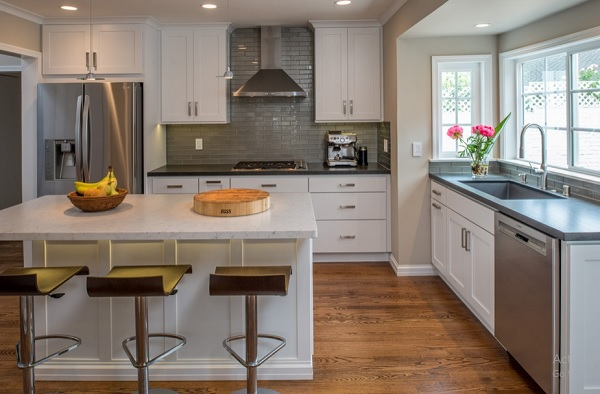 Laminate countertops for white cabinets with bar stools