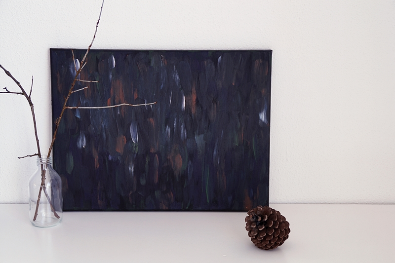 Winter decoration with abstract dark painting by me