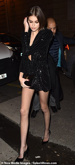 Kaia Gerber in seductive party dress