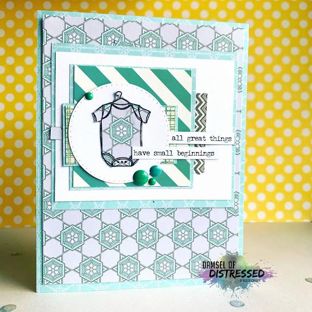 stamped baby boy card onesie