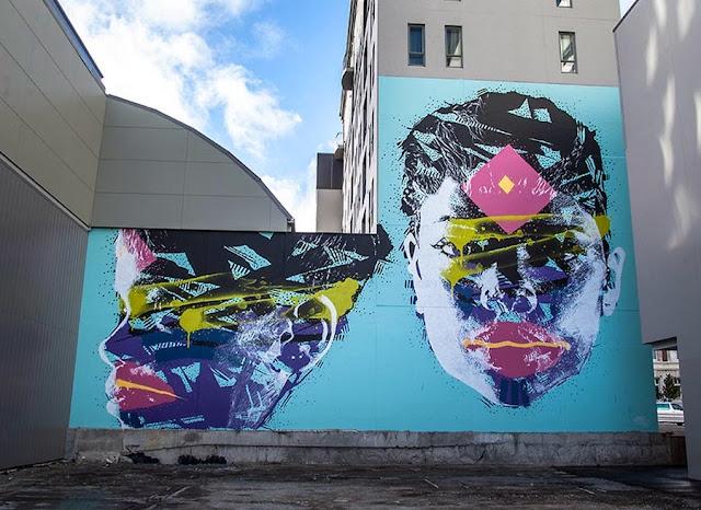 New Street Art Portraits by Australian Artist Askew in New Zealand For Rise Urban Art Festival.