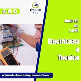 Empleo en Cali hoy comoELECTRICISTA O TECNICO EN ELECTRICIDAD
