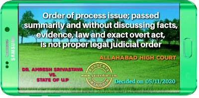 Order of process issue u/s.204 of Cr.P.C.; passed summarily and without discussing facts, evidence, law and exact overt act, is not proper legal judicial order