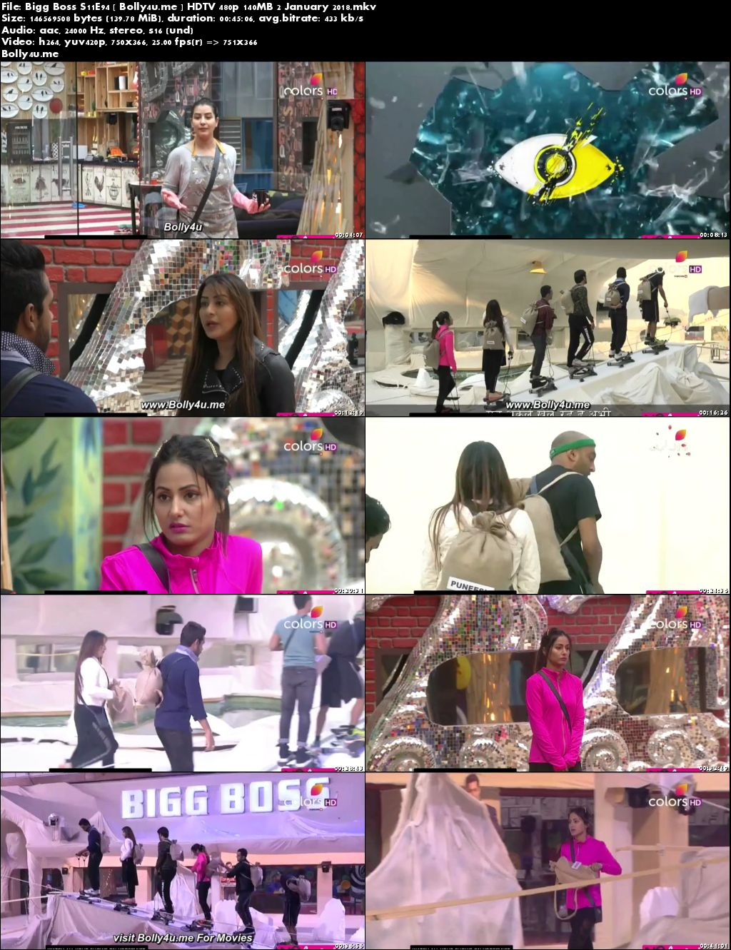 Bigg Boss S11E94 HDTV 480p 140MB 02 January 2018 Download