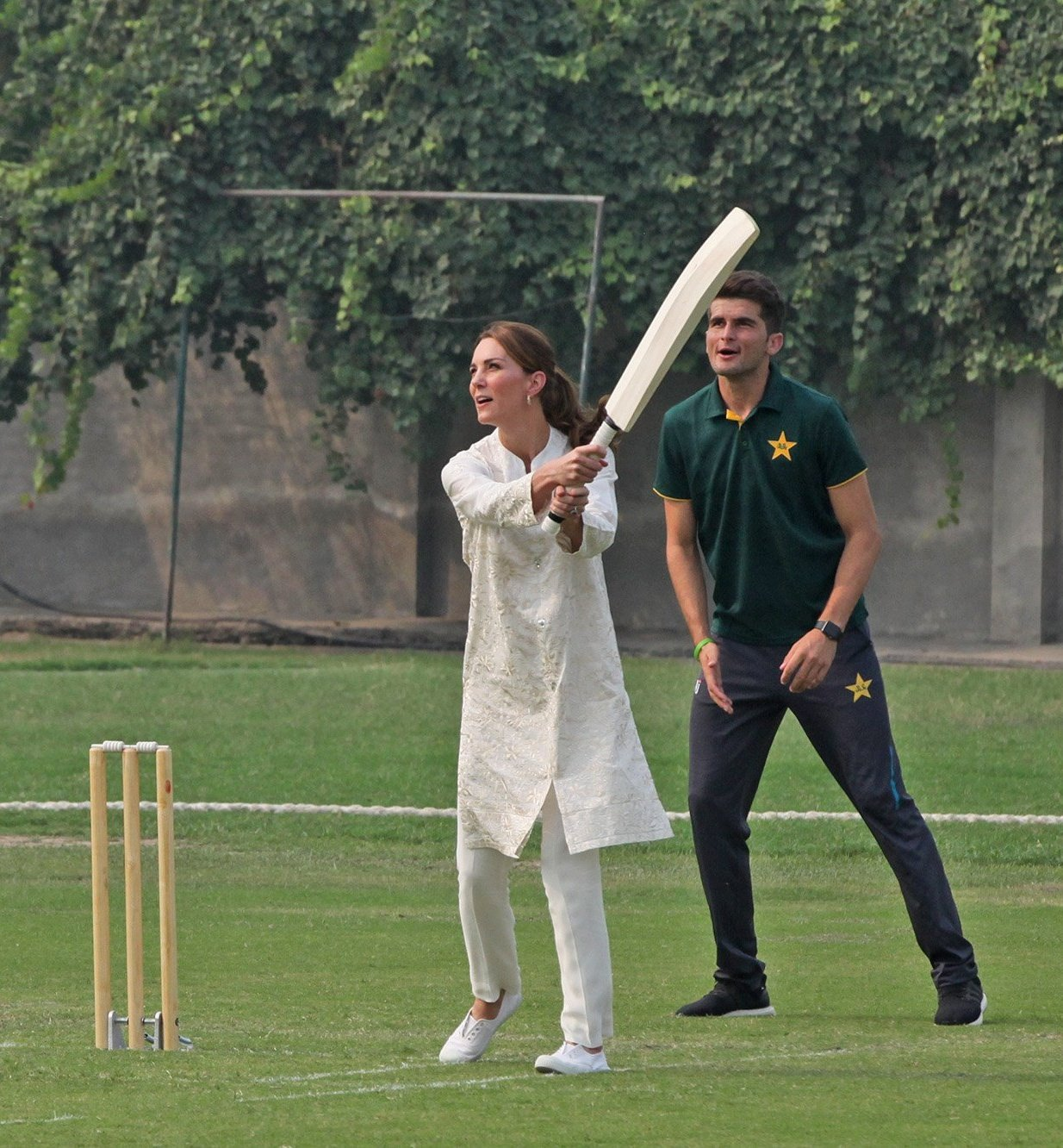 Princess Kate Middleton is enjoying cricket at National Cricket Academy, Lahore.