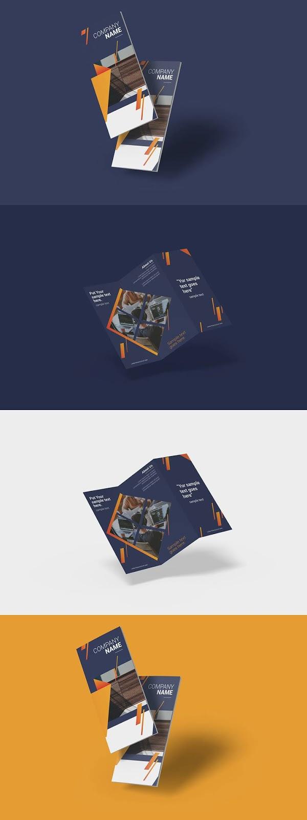 Realistic Trifold Brochure Mock Ups Download