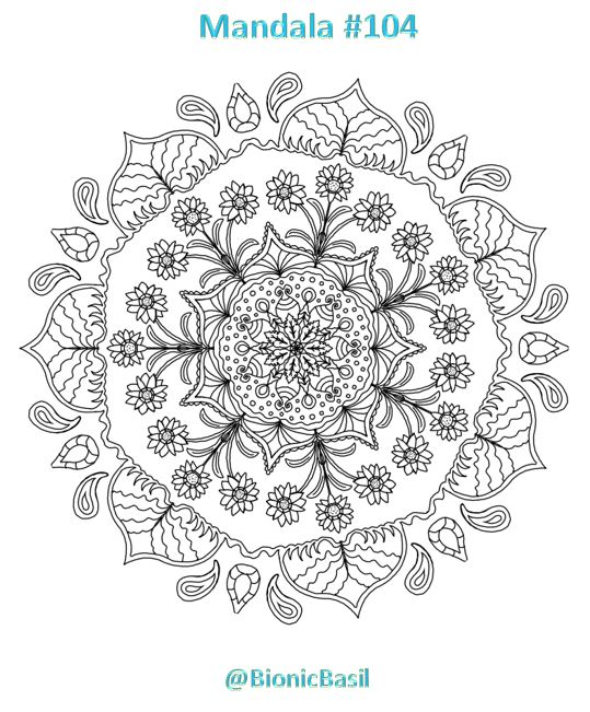 Mandalas on Monday ©BionicBasil® Colouring With Cats #104 Downloadable Image