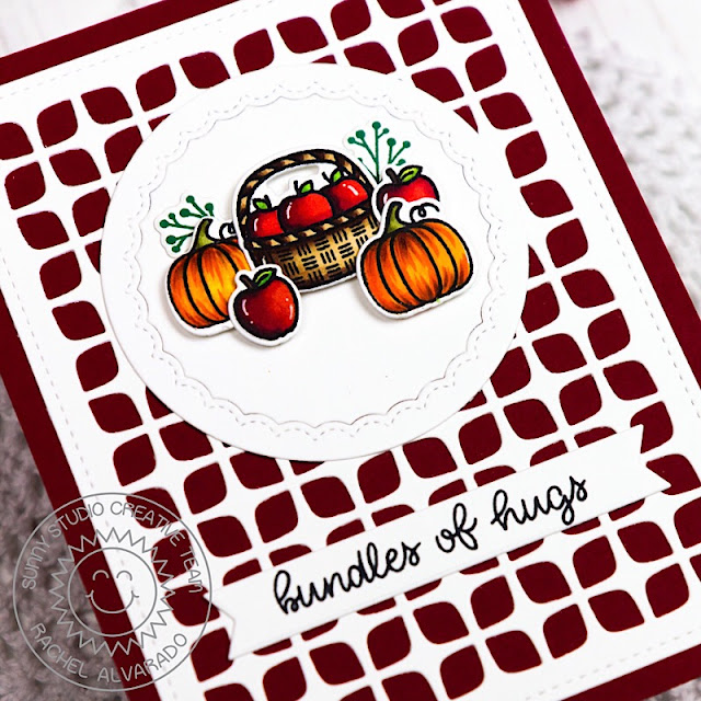 Sunny Studio Stamps: Frilly Frames Retro Petals Dies, Fancy Frames Dies & Happy Harvest Bundles of Hugs Fall Card by Rachel Alvarado