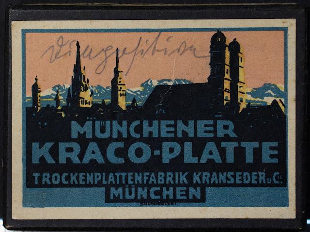 Schachtel für Glasnegative - Münchener Kraco-Platte - Beschriftet mit Diapositive