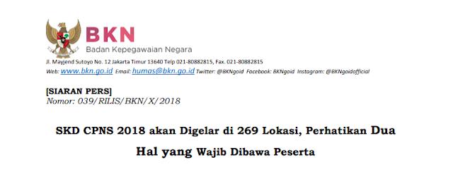 Download Siaran Pers BKN Nomor: 039/RILIS/BKN/X/2018 Tentang Lokasi Ujian SKD dan 2 Hal yang Wajib Dibawa Peserta Agara Bisa Mengikuti Proses SKD CPNS 2018