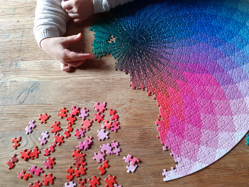 Colour gradient jigsaw, half-completed