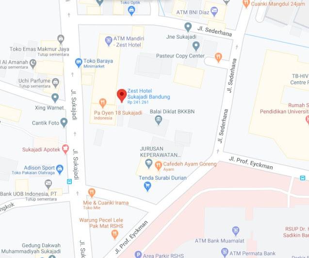 Map Letak Hotel Zest Bandung