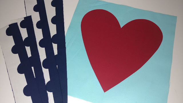 Heart postage stamp quilt block