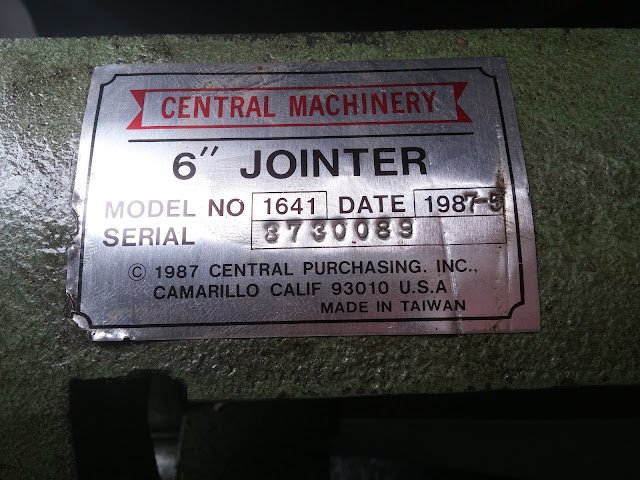 Shopsmith Central Machinery Jointer Label Made In 1987