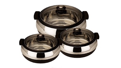 Jaypee Set of Three Different Sized Glasserol to Keep Food Warmer and Testier for Longer Time