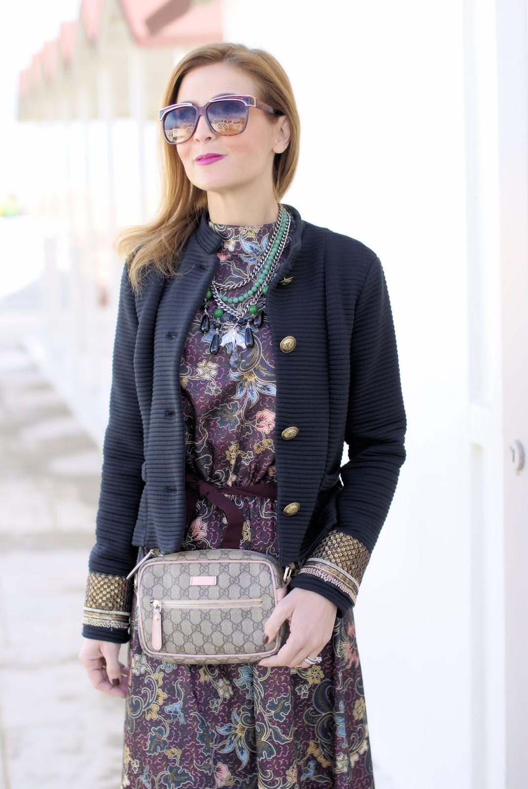 70s style military jacket and Vicolo dress on Fashion and Cookies fashion blog, fashion blogger style