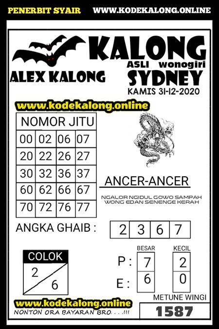 Prediksi Kalong Sidney Kamis 31 Desember 2020
