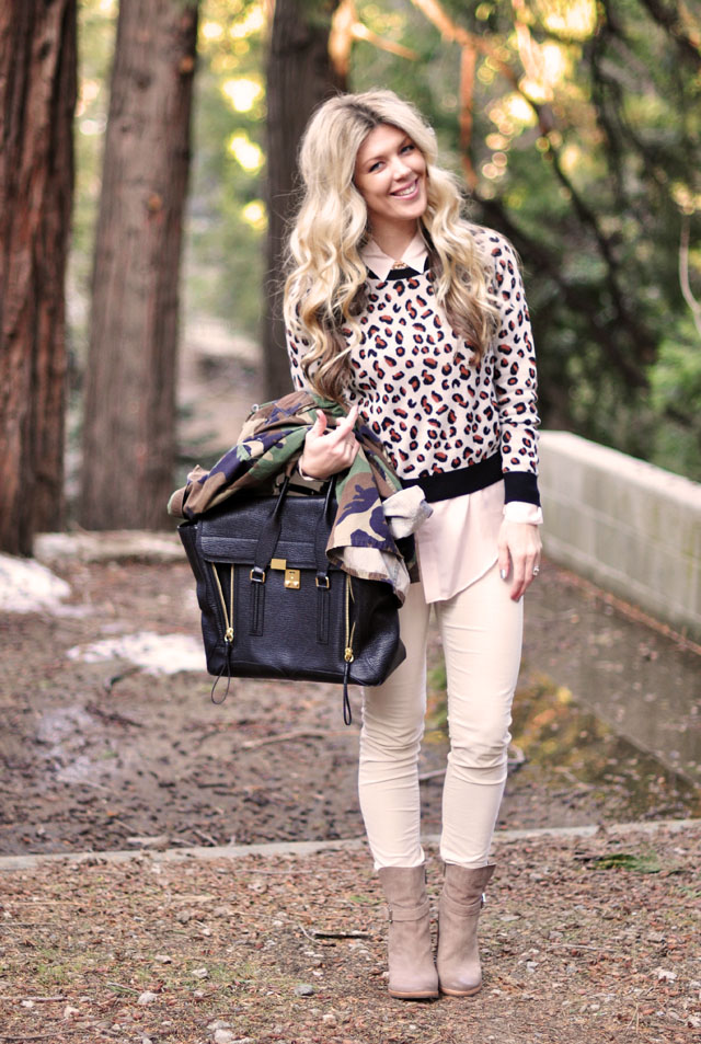 neutral outfit, long waves, cheetah sweatshirt, camouflage jacket