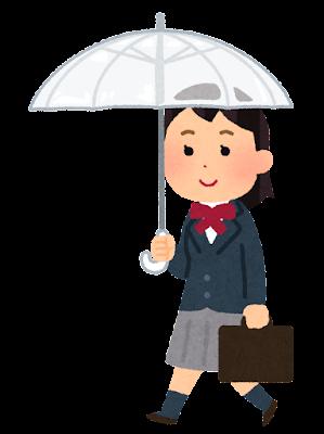傘をさして歩く学生のイラスト(ブレザー・女子)