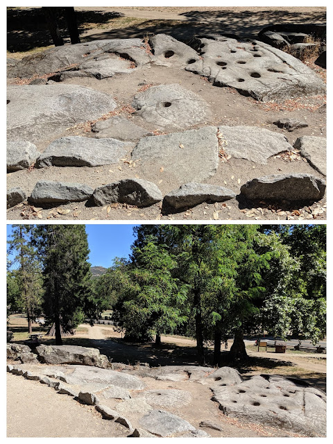 Two collaged photos show indentations in the granite outcrop where generations of Native Americans ground acorns for food.