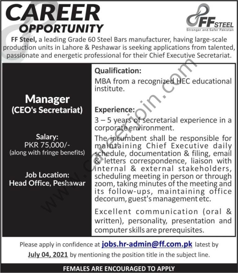 hr-admin@ff.com.pk - FF Steel Jobs 2021 in Pakistan