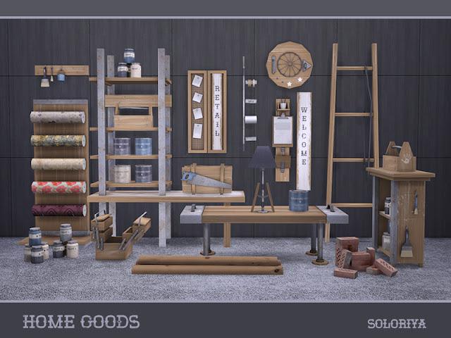 Товары для дома для: The Sims 4 В этом наборе есть все для ремонта вашего дома. 2 цветовых вариации. Английские и симличные знаки, 18 предметов. Предметы в наборе: - стеллаж - журнальный столик - стол узкий - светлый стол - Я сумматор - 5 настенных декоров - 2 вида красок - 3 ящика для инструментов - кирпичи - пиломатериалы - стойка с обоями. Автор: soloriya