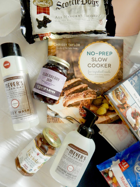 My Favorite Things Giveaway...No-Prep Slow Cooker Cookbook, Fix It and Forget It Cookbook, Norm's Farms Elderberry Jam, Gimbal's Fine Candies, Mrs. Meyer's Lavendar Body Wash and Hand Soap, Rigoni di Asiago Hazelnut Spread, CocoRoo Coffee Body Scrub and CocoRoo Coconut Oil Moisturizer, Cosmetic Bags (sweetandsavoryfood.com)
