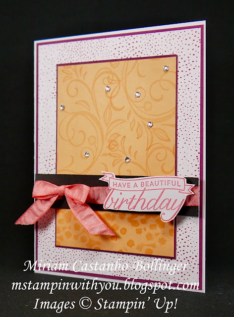 Miriam Castanho-Bollinger, #mstampinwithyou, stampin up, demonstrator, dsc, birthday card, tutti-frutti dsp, birthday blossoms stamp set, falling flowers stamp set, dragonfly dreams stamp set, su