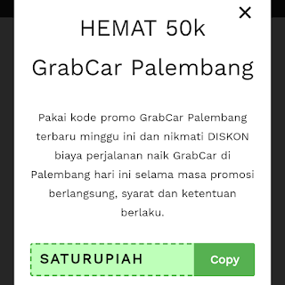 Kode promo grab car Palembang 2020