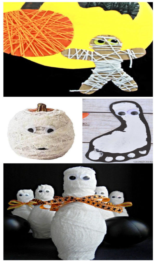 Halloween mummy crafts for kids #halloween #cardboardtubecrafts #halloweenmummycraft #growingajeweledrose #activitiesforkids