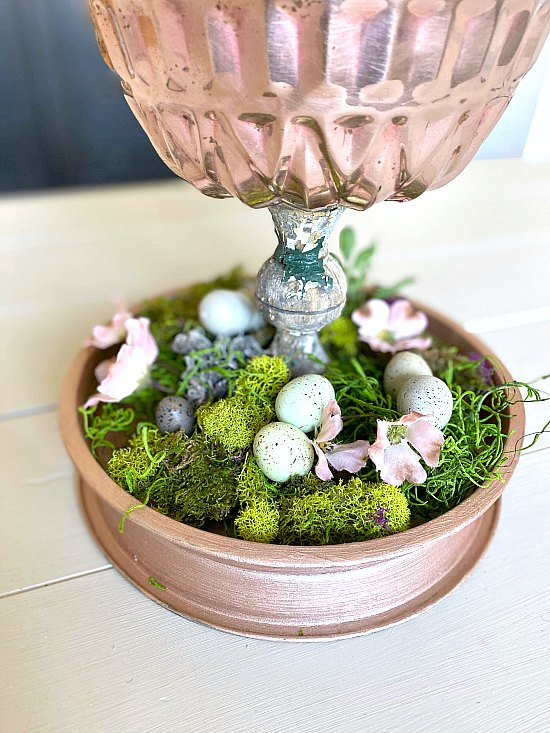 Rose gold DIY tiered tray with moss and flowers