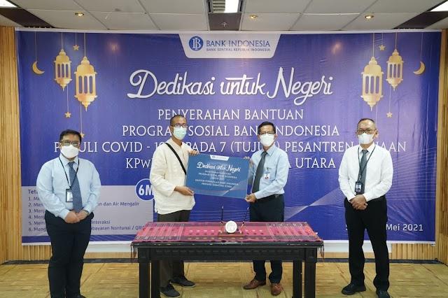 BI Sumut Salurkan Bantuan Peralatan Prokes ke 7 Pesantren di Sumut