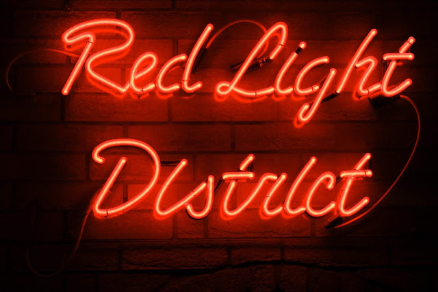 sign lit in red
