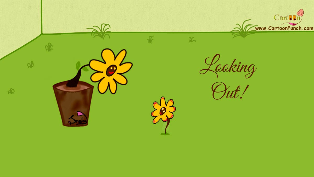 Looking Out cartoon illustration of flowers in garden by sneha