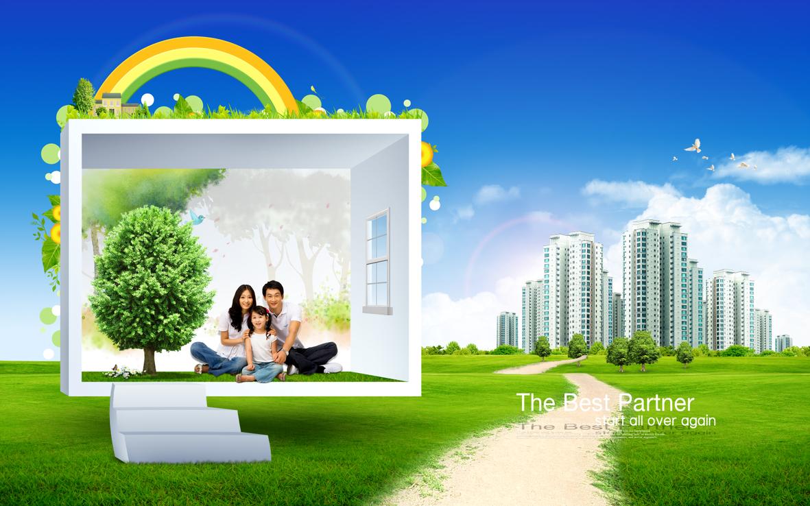 تصميمات مفتوحة psd احترافية باللون الاخضر جمال الطبيعة روعة التنسيق