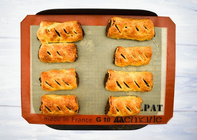 Making mushroom and chestnut sausage rolls - step 7 bake sausage rolls