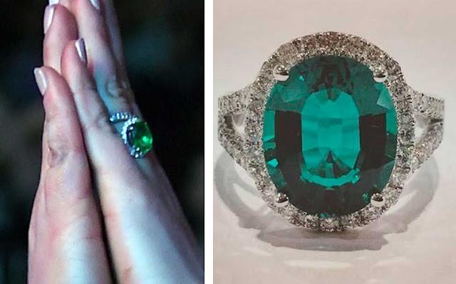 Anel Lindsay Lohan, esmeraldas e diamantes, noivado