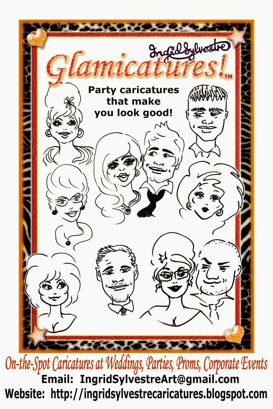 Fun Wedding ideas. Wedding Day Entertainment Ideas. Unique ideas for Wedding Reception Entertainment. Great ideas for unusual wedding day entertainment. Wedding event ideas for entertainment during reception. Unusual interesting fun Wedding planning ideas. Glamicatures - party caricatures that make you look good! by UK caricature artist Ingrid Sylvestre