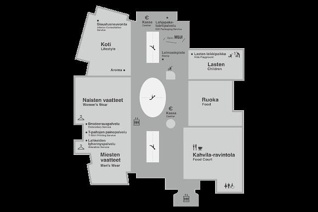 Helsingin Kampin Muji-lippulaivaliikkeen pohjapiirros
