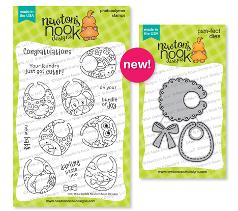 Bitty Bibs Stamp Set and Baby Bib Die Set by Newton's Nook Designs #newtonsnook