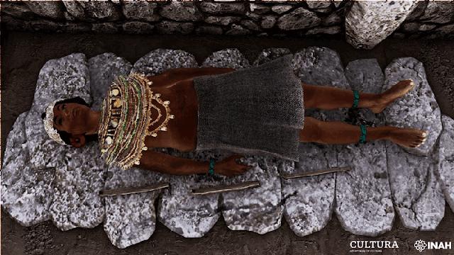 Reconstrucción digital del ajuar funerario, Tumba II de Tingambato. Imagen Modelo PAPACSUM-ADV Estudios.