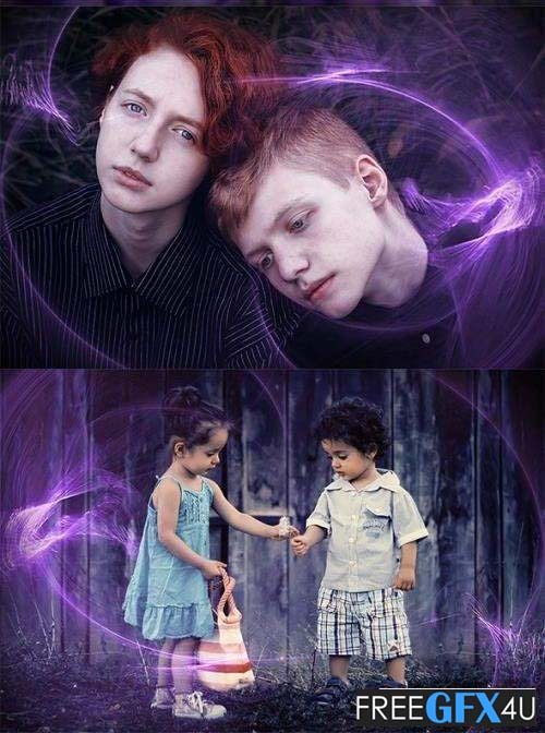 50 Purple Light Magic Photo Overlays
