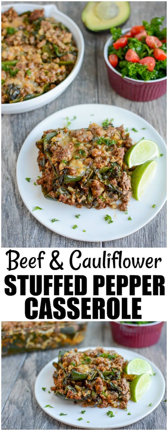 BEEF AND CAULIFLOWER STUFFED PEPPER CASSEROLE