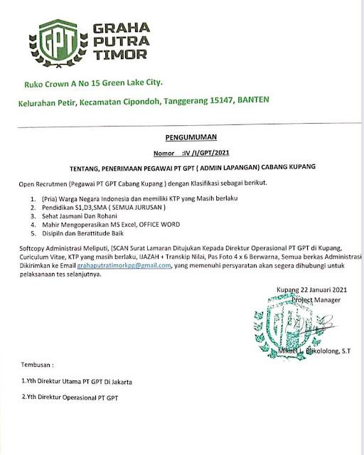 Lowongan Kerja Admin Lapangan di PT Graha Putra Timor Cabang Kupang