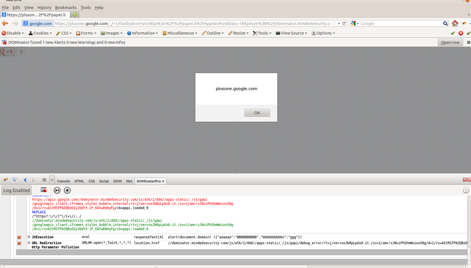 Minded Security Blog: DOM XSS on Google Plus One Button