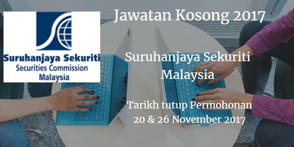 Jawatan Kosong Suruhanjaya Sekuriti Malaysia 20 & 26 November 2017