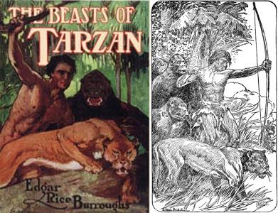 Korabeli illusztrációk Tarzanról a fenevadak élén