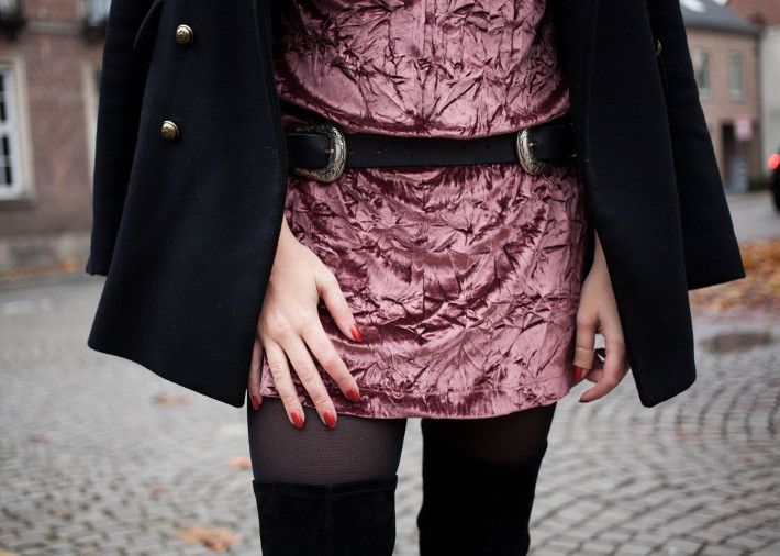 Outfit: crushed pink velvet and thigh high boots