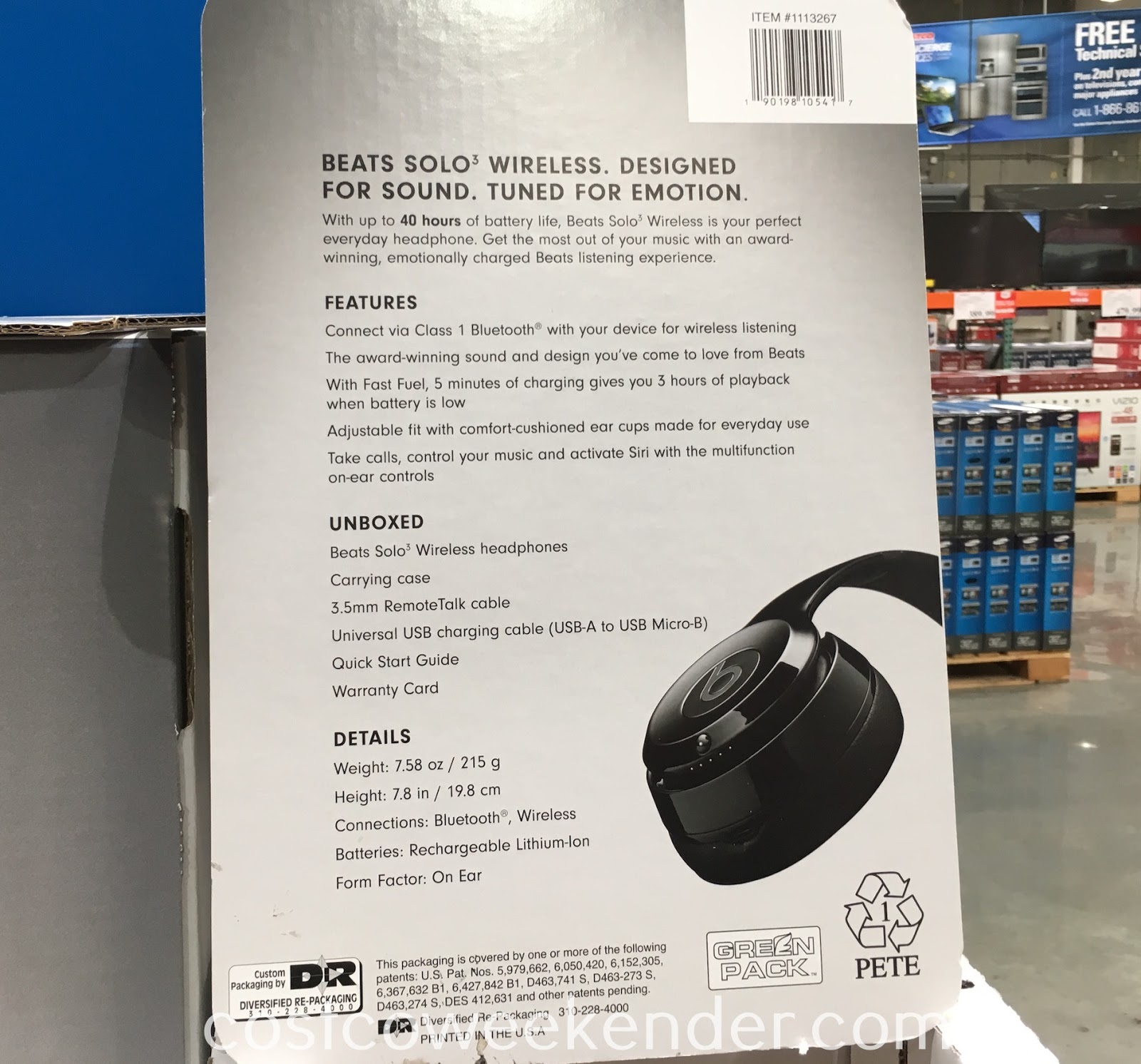 Costco 1113267 - Beats Solo 3 Wireless Bluetooth Headphones - The freedom of wireless and the sound quality of Beats