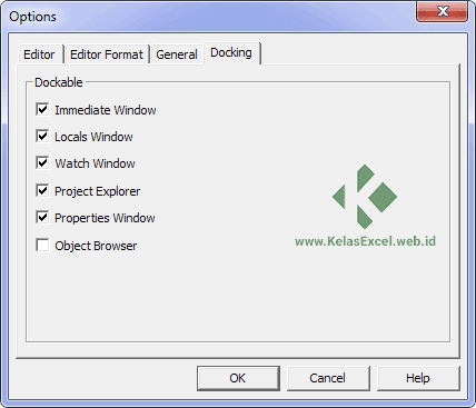TAB Docking Options VBE Excel